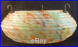 Art Deco End Of Day Splatter Glass Fly Catcher Ufo Ceiling Light Shade Antique