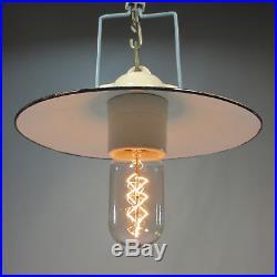 Art Deco Fabriklampe Emaille / Keramik Lampe Industrie Design Werkstatt Lampe