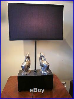 Art Deco Figural Gazelle Table Lamp Black and Chrome Antelope Animal Light 1920