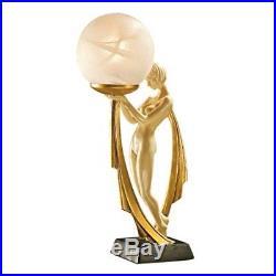 Art Deco Figural Lamp Nude Lady Statue Illuminated Glass Table Light Figure Miss