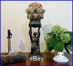 Art Deco Figural Woman Bronzed Spelter Lamp Czech Spatter Glass Starburst Shade