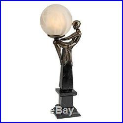 Art Deco Flapper Era Lithe Maiden Lamp Illuminated Frosted Globe Sculpture
