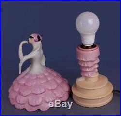 Art Deco Fulper Harlequin Lady Dancer Half Doll Perfume Lamp Porcelain Figurine