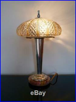 Art Deco German Modernist Table Lamp-marble, Silver Plated, Bakelite Rewired