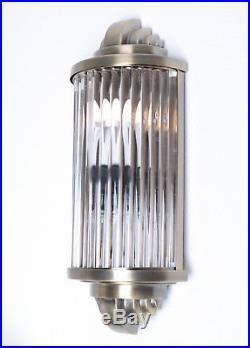 Art Deco Glass Rod Wall Light Bauhaus Lamp Antique Metal &