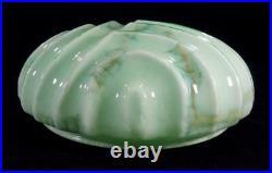 Art Deco Green Depression Era Uranium Glass Large Pendant Light Lamp Shade