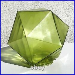 Art Deco Green Glass Geometric Icosahedron Faceted Lamp Light Fixture Shade