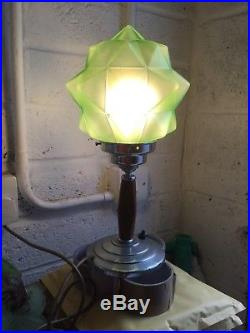 Art Deco Green Glass Star Shade Table Lamp Chrome Wood Base Stylish