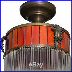 Art Deco Hängelampe Lampe Deckenlampe Glas Leuchte Messing Deckenleuchte Jugends