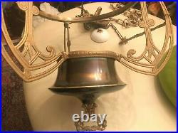 Art Deco Hanging Chain Lamp BEAUTIFUL Green Glass Shade