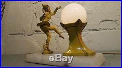 Art Deco Harlequin Dancing Pixie Lamp Gerdago Spelter Figural 1920's 1930's Elf