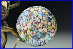 Art Deco JB Hirsch Gerdago Harlequin Pixie Lamp Millifiori Art Glass Shade