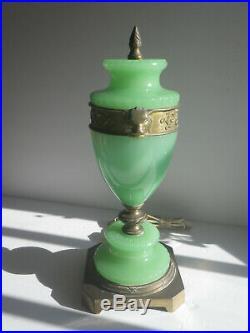 Art Deco Jadite Gilt Brass Lamp LION Antique WORKS