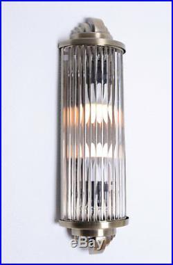 Art Deco Kinoleuchte Wandlampe Wandleuchte Klassik Leuchte Kinolampe Chrom Glas