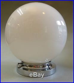 Art Deco Klassiker Kugelleuchte Deckenlampe Glas Kugel weiß Chrom um1925 perfekt