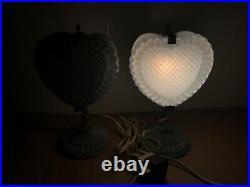 Art Deco Klingsberg Blue Glass Heart Shaped Hobnail End Table Desk Lamp x 2