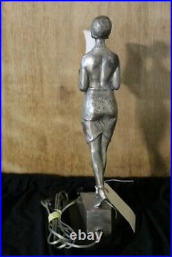 Art Deco Lady Lamp, Silvered Bronze, Alabaster shade, Style Max Le Verrier