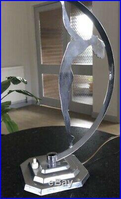 Art Deco Lamp 1920s Light 1930s Green Glass Table Statue Lady Chrome Vaseline