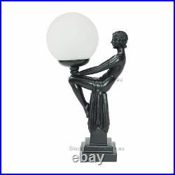 Art Deco Lamp, Black Art Deco Table Lamp, Lady Sitting Holding Ball