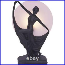 Art Deco Lamp, Black Table Lamp, Round Glass Shade, Lady Holding Skirt