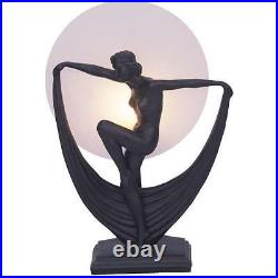 Art Deco Lamp, Black Table Lamp, Round Glass Shade, Lady with Scarf