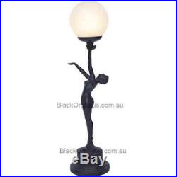 Art Deco Lamp, Black Table Lamp, Round Glass Shade, Out Streched Arm