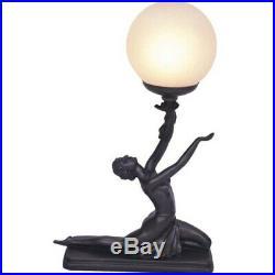 Art Deco Lamp, Bronze Look Table Lamp, Lady Kneeling