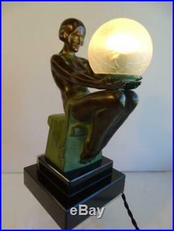 Art Deco Lamp DÉLASSEMENT Signed Max Le verrier