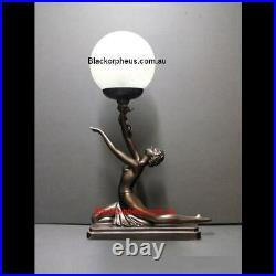 Art Deco Lamp, H47cm, Bronze Colour Table Lamp, Lady Kneeling