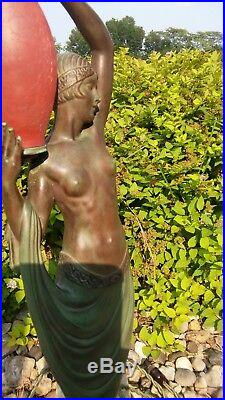 Art Deco Lamp Nude Lady Woman Pierre Le Faguays Fayral Max Le Verrier Spelter