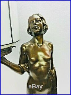 Art Deco Lamp Nude Woman Sky Scraper Shade Light Up Base, Nuart Frankart, Bronze