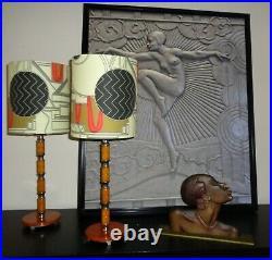 Art Deco Lamp Shade 6 Inch Diameter Designer Fabric Clarice Cliff