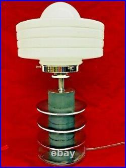 Art Deco Lamp Stacked Chrome Rings, Black Center Column, White Glass Shade