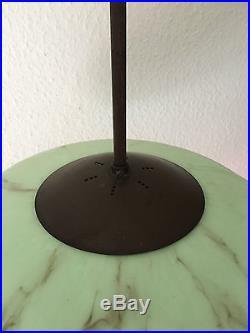 Art Deco Lampe Glas Grün Pilz-Form 20er 30er Jahre Bauhaus Era