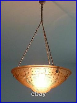Art Deco Lampenschale, Plafoniere, rosé Deckenlampe, 20er Jahre