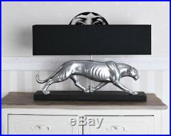 Art Deco Leuchte Panther Silber Schwarz Tischlampe Tischleuchte Leopard Lampe