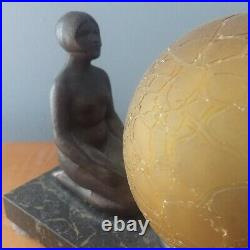 Art Deco Max Le Verrier Style Women Frankart Era Lamp Double Nude Antique Figure