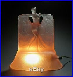 Art Deco McKee Glass Danse DeLumiere Nude Figure Lamp c1930 Lalique Sabino Style