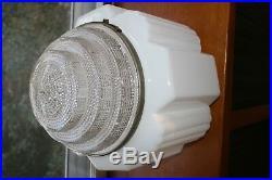 Art Deco Milk Glass Geometric Globe Chandelier Hanging Lamp Pendant