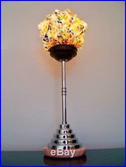 Art Deco Modernist Table Lamp Marble, Chrome, Bakelite Rewired