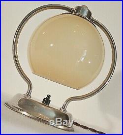 Art Deco Nachttischlampe Bedside Lamp Chrom Opalglas Bauhaus Design Um 1930