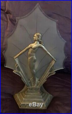 Art Deco Nouveau Accent Lamp Figural Nymph Nude C. 1920's -1930