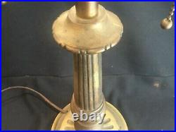 Art Deco Nouveau Antique Lamp Base Only for Stained Glass Shade Miller Pittsburg