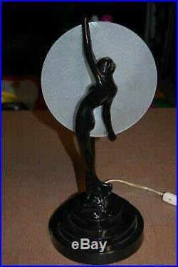 Art Deco/Nouveau Black Nude Maiden/Woman Desk Table Lamp 1990's