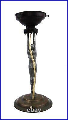 Art Deco Nude Lady Lamp White Metal Aluminium