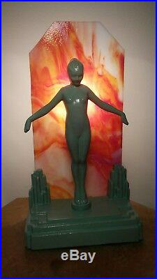 Art Deco Nude Nymph Lamp Frankart Sarsaparilla Lady Woman Girl Figural Sculpture