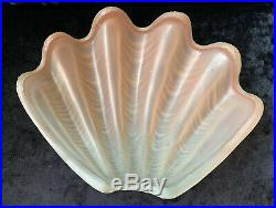 Art Deco Odeon Clam Shell Wall Light Pink Glass Shade & On/Off Switch