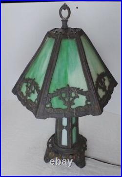Art Deco P E H Green Slag Glass Lamp