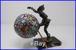 Art Deco Painted Bronze Figural Lamp Circa 1920