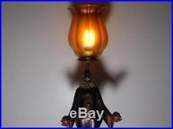 Art Deco Painted White Metal Figural Lamp With Quezal Glass Shade